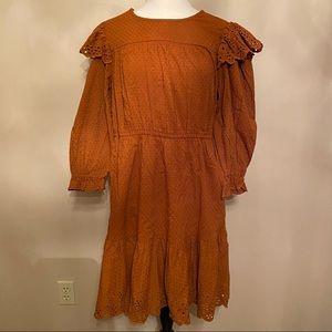 NWT Womens Rust Long Sleeve Dress With Pockets